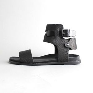 Ankle Strap Matte Leather Sandals Flats Gladiator
